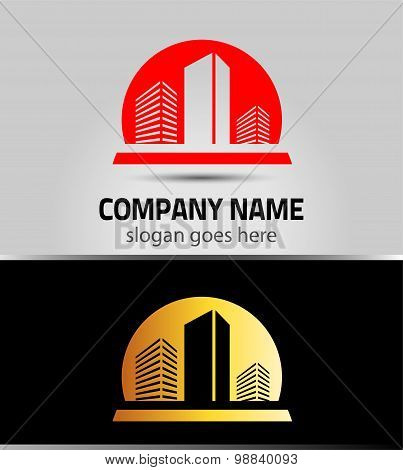 vector building logo colorful construction isolated