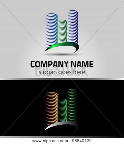 Business Real Estate building abstract vector logo design template