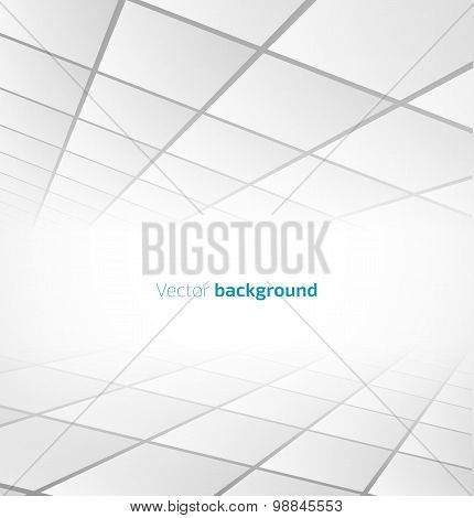 Abstract white tiled background with a perspective