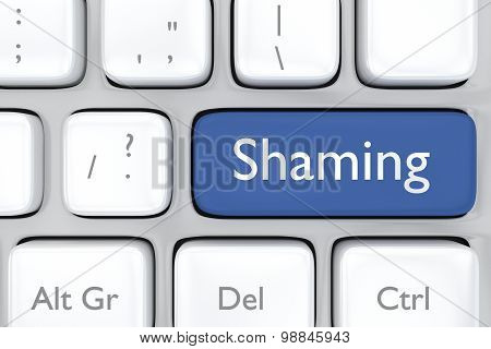 3D render illustration of social media shaming button
