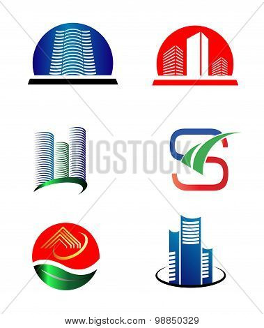 Collection of real estate logo icons building