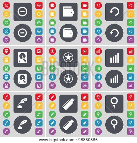 Minus, Wallet, Reload, Hard Drive, Star, Diagram, Inkpot, Usb, Checkpoint Icon Symbol. A Large Set O