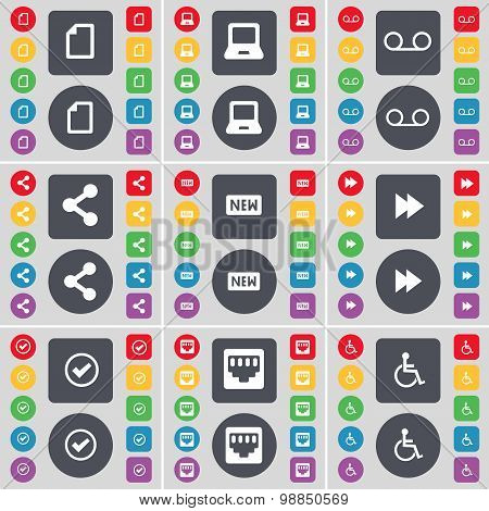 File, Laptop, Cassette, Share, New, Rewind, Tick, Lan Socket, Disabled Person Icon Symbol. A Large S