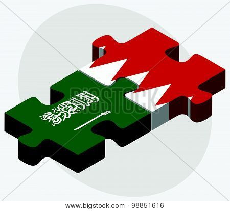 Saudi Arabia And Bahrain Flags