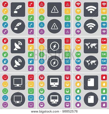 Ink Pot, Warning, Wi-fi, Satellite Dish, Flash, Globe, Monitor, File Icon Symbol. A Large Set Of Fla