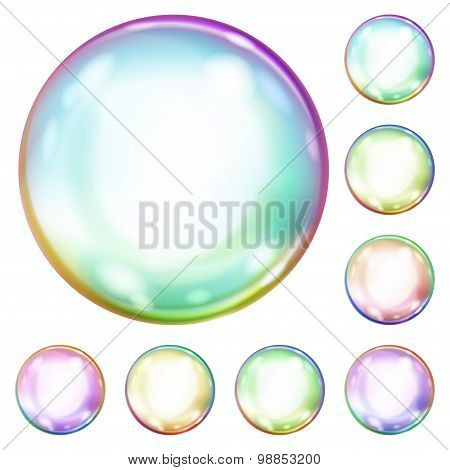 Set Of Multicolored Soap Bubbles