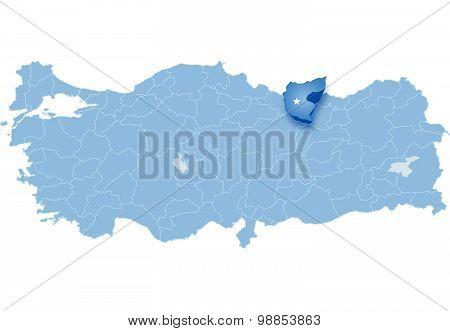 Map Of Turkey, Giresun