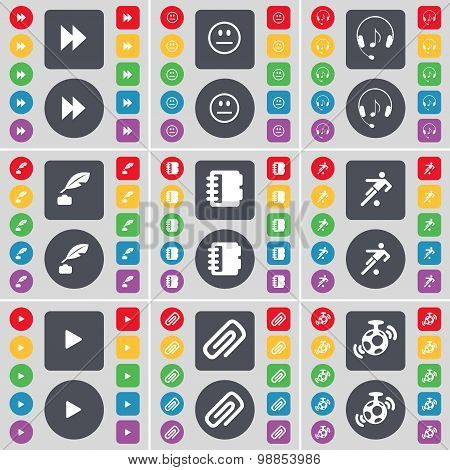 Rewind, Smile, Headphones, Inkpot, Notebook, Football, Media Play, Clip, Microphone Icon Symbol. A L