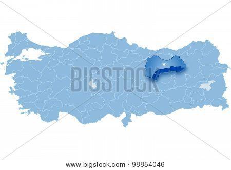 Map Of Turkey, Erzinca