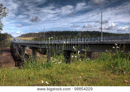New Steel Bridge On Concrete Pillars Crossing Bed Forest Stream