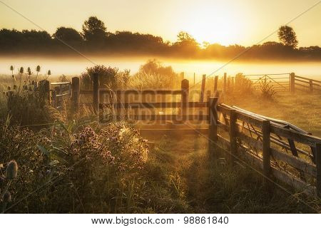 Stunning Sunrise Landscape Over Foggy English Countryside With Glowing Sun