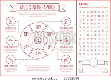 Music infographic template and elements. The template includes the following set of icons - orgami, gramopnone, digital equalizer, ukelele, saxophone, tmpani and more. Modern minimalistic flat thin
