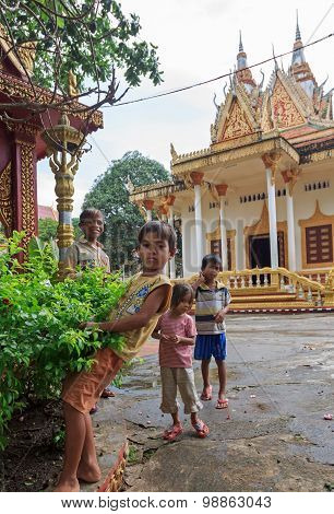 Young Homeless Children Posing In Temple Wat Krom In Sihonoukville, Cambodia