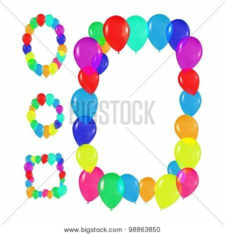 set round, oval, square frames of colorful balloons in the style of realism. to design cards, birthd
