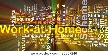 Background concept wordcloud illustration of work at home scheme glowing light