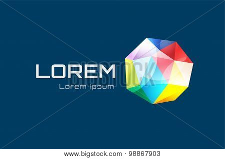 Abstract triangle low poly globe logo design. Geometric color icon