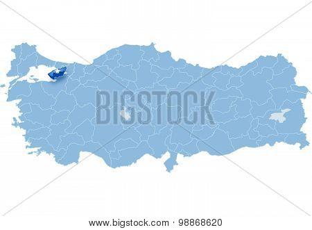 Map Of Turkey, Yalova