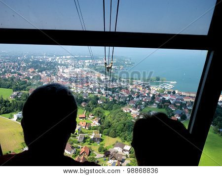 View From The Pfänder Cable Lift Over Bregenz, Pfaender Mountain, Lake Constance, Vorarlberg, Austri