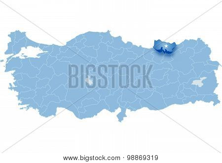 Map Of Turkey, Trabzon