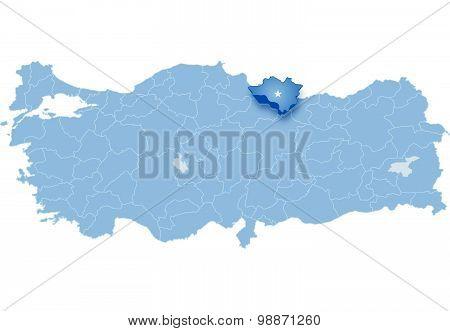 Map Of Turkey, Ordu