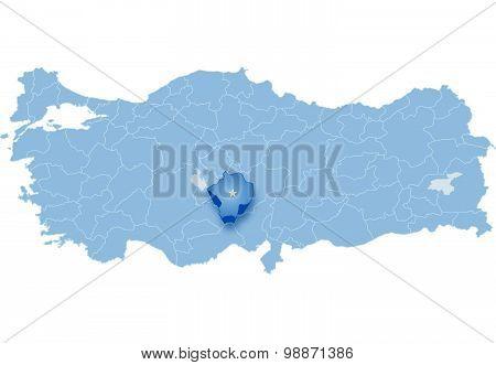 Map Of Turkey, Nigde