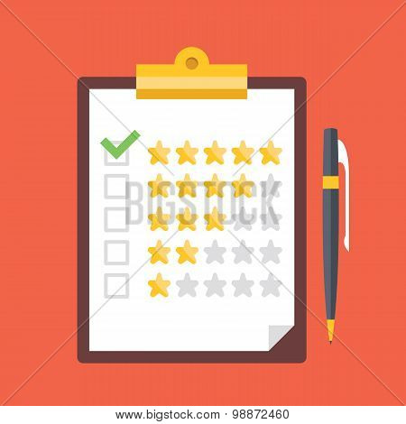 Clipboard with rating stars and pen. Quality control, customers reviews, service rating concepts