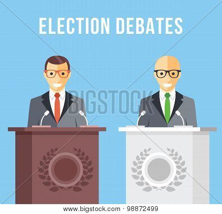 Election debates, dispute, social discussion flat illustration concepts