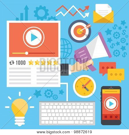 Video marketing, media marketing, digital marketing flat illustration concepts