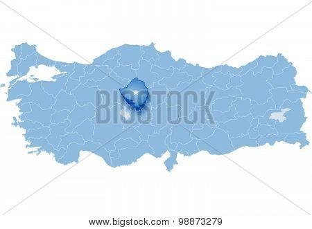 Map Of Turkey, Kirsehir