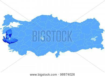 Map Of Turkey, Izmir