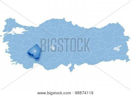Map Of Turkey, Isparta