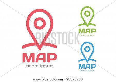 Map pin vector logo icon template. Travel logo, marker shape, pin, navigation symbol. Marker logo. Map icon. Map logo. Travel icon