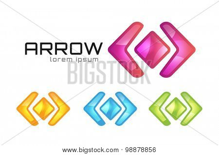 Arrow abstract logo vector template. Web or app symbol, cursor navigation icon, arrowheads marker and dynamic shape or orientation marker. Buiness logo. Company logo. Arrow shape