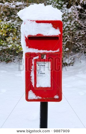 Red Postbox In The Snow