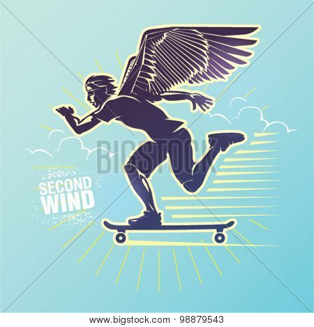 Skateboarder in a motion. Vector illustration created in topic
