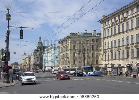 Nevsky Avenue With Moving On It Pedestrians And Cars