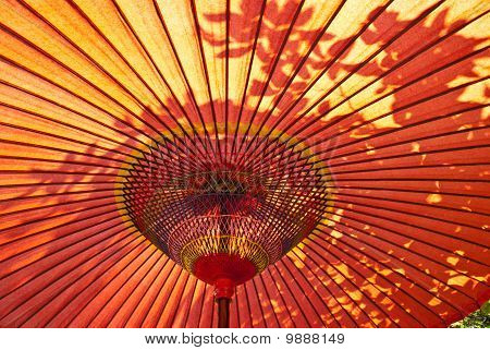 Red Japanese parasol