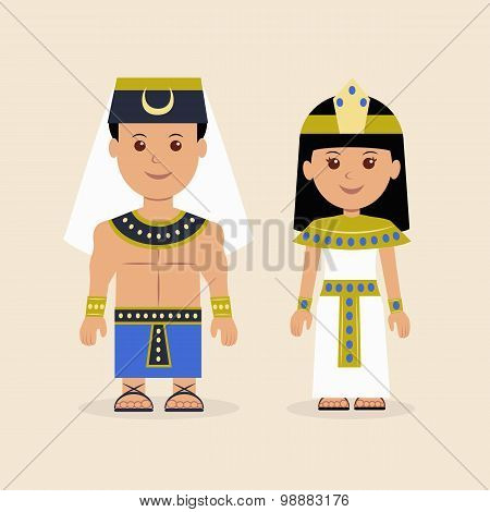 Male and female in the Egyptian attire. Characters of Pharaoh and the Cleopatra. poster