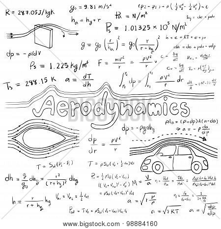 Aerodynamics Law Theory And Physics Mathematical Formula Equation, Doodle Handwriting Icon In White