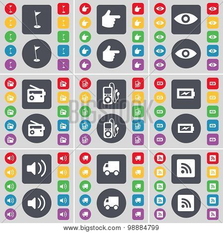 Golf Hole, Hand, Vision, Radio, Mp3 Player, Charging, Sound, Truck, Rss Icon Symbol. A Large Set Of