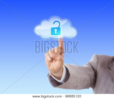 Arm Reaching To Touch Open Lock Icon In Cloud