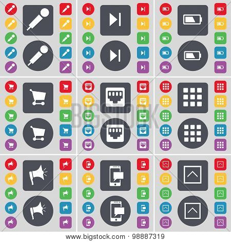 Microphone, Media Skip, Battery, Shopping Cart, Lan Socket, Apps, Megaphone, Sms, Arrow Up Icon Symb