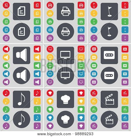 Text File, Printer, Golf Hole, Sound, Monitor, Cassette, Note, Cooking Hat, Clapper Icon Symbol. A L