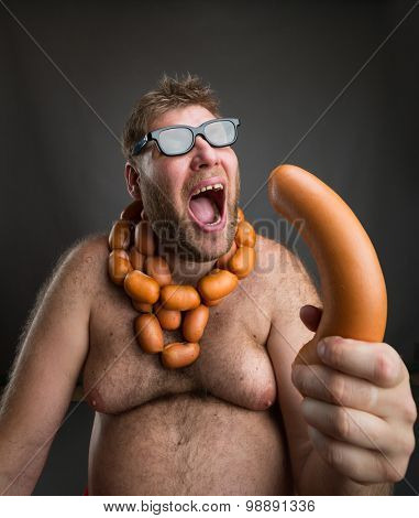 Hungry man with sausages
