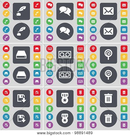 Ink Pot, Chat, Message, Hard Drive, Cassette, Lollipop, Floppy, Medal, Trash Can Icon Symbol. A Larg