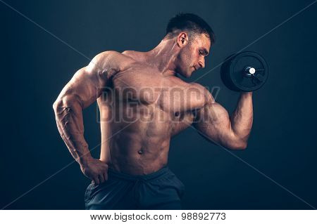 Muscle man doing bicep curls. Muscle man doing bicep curls poster