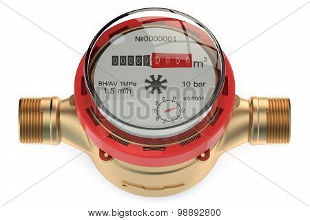 hot water meter isolated on white background poster