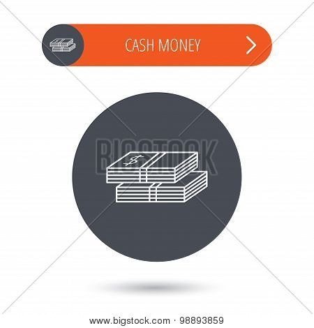 Cash icon. Dollar money sign. USD currency symbol. 2 wads of money. Gray flat circle button. Orange button with arrow. Vector poster
