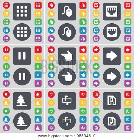 Apps, Mouse, Lan Socket, Pause, Hand, Arrow Right, Firtree, Mailbox, Zip File Icon Symbol. A Large S