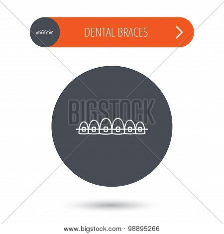 Dental braces icon. Teeth healthcare sign.